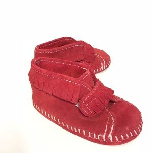 Minnetonka front strap booties moccasins